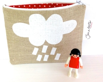 Screen Printed Cloud Purse Bag Pouch by Jane Foster  -  oatmeal linen - monochrome design - hand lined