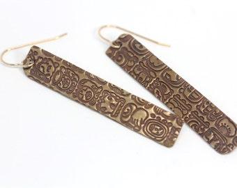 Oblong Mayan Codice Earrings