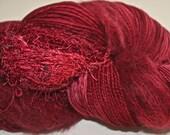 Hand dyed yarn, Biggie, Cranberry colorway, wool, silk, nylon