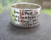 wide personalized sterling silver band . stamped quote, poem or names .  four lines of text . made to order in your size