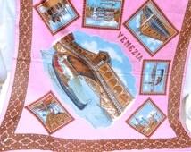 Souvenir Scarf, Venice Scarf, Vintage Scarf, Scarf, Tourist Scarf, Pink Scarf, Patterned Scarf, 1960's Scarf, Italy Scarf, 'Venezia' Scarf