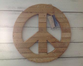 Handmade Wooden Peace Sign Wall Art