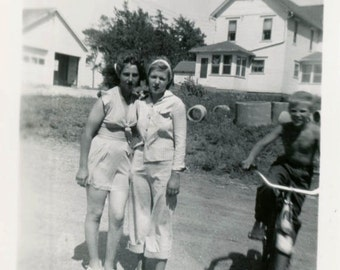 Vintage photo 1947 Girlfriends on Farm Affectionate Halter Shorts Photo bomb Bicycle Boy