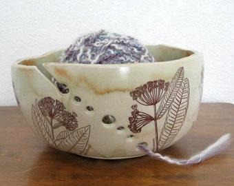 Yarn Bowl - Knitting Organizer - Milkweed - Butterfly Weed - Hand Thrown Ceramic Stoneware Pottery - Ready to Ship