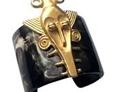 Mask Cuff Bracelet (Dark Brown)