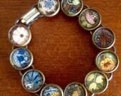REDUCED! Art nouveau tiny cabochon bracelet / bronze tone metal / art bracelet