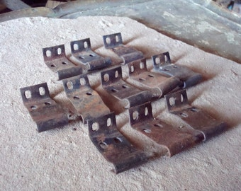 Rusty Metal Bits with Holes Wood Joiners Clips Clamps - Supplies for Assemblage, Altered Art , Sculpture - Industrial Salvage