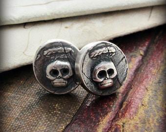 Tiny Skull Wax Seal Stud Earrings - Skull Jewelry- Skull Post Earrings -Memento Mori Skull Earrings