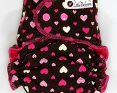 One Size Cloth Diaper AI2 WindPro - OS Wind Pro All in Two Cloth Nappy - Multi Hearts on Brown - Windpro Hybrid Diaper - Pink Hearts Love