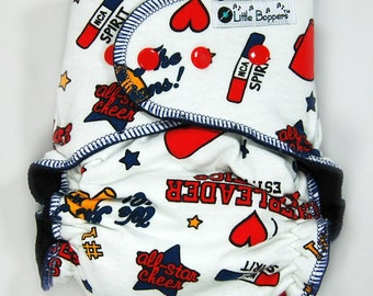 Custom Cloth Diaper or Cover - Cheerleader Athletics - You Pick Size & Style - AI2, Hybrid Fitted, Cover etc - Cheer Team Spirit NCA