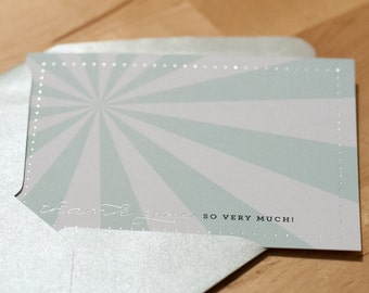 Thank You Cards -- Set of 8 Seafoam and Silver Burst Cards