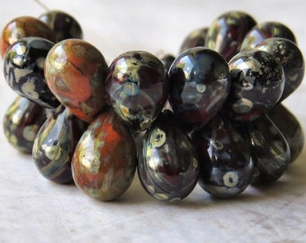 Orange Picasso Mix Czech Glass Bead 9x6mm Teardrop : Full Strand