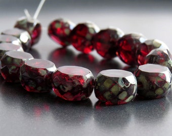 Picasso Wine Czech Glass Bead 12mm Faceted Table Cut Coin : 6 pc 12mm Red Bead
