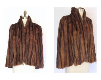 1940s Mink Cape 1940s Dark Mahogany Brown Mink Fur Stole