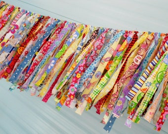 Eye Candy Boho Rag Tie Garland, Birthday Rag Fringe Garland, Fabric Garland, Tea Party, Farmhouse Wedding Photo Prop