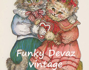 Vintage Valentine Cats digital download/ 4x6 & 8 x 12, Romantic Cat Card