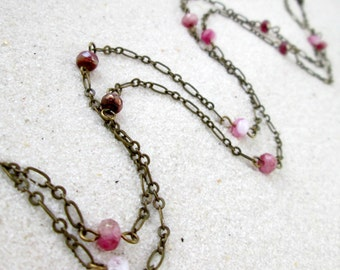 Handmade Long Bead and Chain Necklace - Pink Necklace - Long Layering Necklace - Layered and Long Necklace - Gift for Her - Pink Series