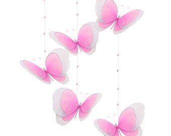 Baby Mobile, Ceiling Mobile, Hanging Butterfly, Crib Mobile, Baby Room Decor, Nursery Decor, Girl Room, Wedding Decor Multi-Layered Spiral