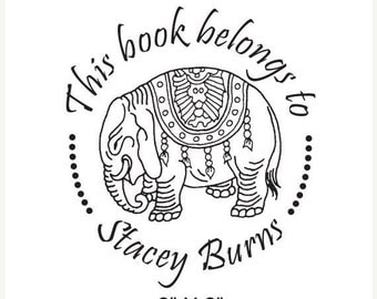 Xmas in July Personalized Ceremonial Elephant Bookplate Ex Libris  Rubber Stamp C26