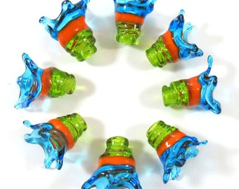 Handmade Lampwork bead glass - Lampwork beads set - Thimble Bell Beads, turquoise, lime, orange(8) SRA