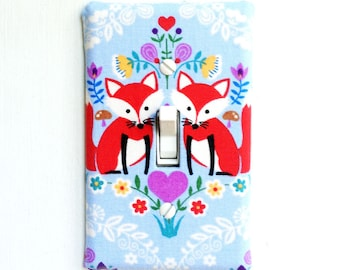 Fabric Covered Light Switch Plate Cover - Light Blue with Foxes, sweet with hearts and floral flowers