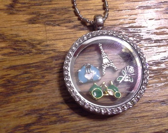 Paris, Travel Themed Floating Locket Necklace