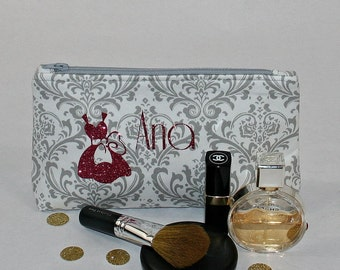 Personalized Bridesmaid Gift Cosmetic Bags Monogrammed Bag, Bridesmaid Bag, Personalized Clutch, Bridesmaids Gift, Bridesmaid Gift Set