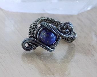 Lapis Lazuli Bead Ring Gunmetal Wire Wrapped Hematite Parawire Wire Wrap Ring Size 6 Wire Wrapped Jewelry Handmade Scifi Orbit Ring