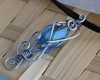 Sterling Simply Wrapped Blue Faceted Aqua Aura Quartz Crystal Wire Pendant in Oxidized Sterling Silver Wire Jewelry Handmade Crystal Healing