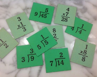 vintage multiplication and division cards