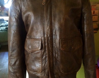 Vintage mens 1980's brown leather bomber/jacket size Small