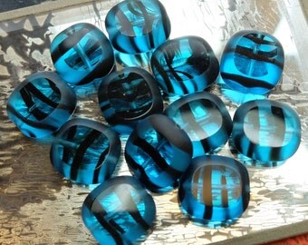 SALE 12 Vintage Czech Beads Glass Window Blue Black