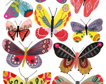 Butterflies, Girl, print of my original painting