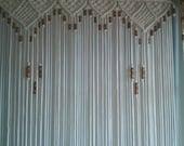 Bead Fringed Door Curtain Macrame  For a Door With Tie-Backs
