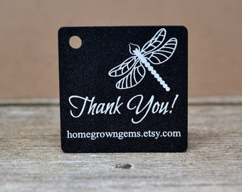 Dragonfly Thank You Hang Tags - Gift Tags - Packaging - White on Black Glitter Gold Silver - Wedding |  DS0104