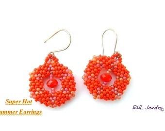 Summer Earrings Bright Orange Earrings Tangerine Peyote Earrings   E2010-50