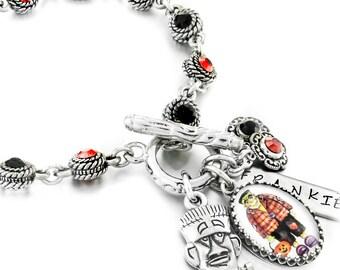Halloween Charm Bracelet, Crystal Charm Bracelet for Halloween, Frankenstein Charm Bracelet, Frankenstein Jewelry