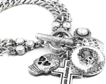 Day of the Dead Silver Charm Bracelet, Dia de los Muertos Charm Bracelet, Day of the Dead Jewelry, Sugar Skull Bracelet