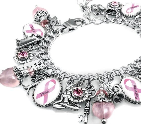 Charm bracelet breast cancer jewelry breast cancer awareness jewelry