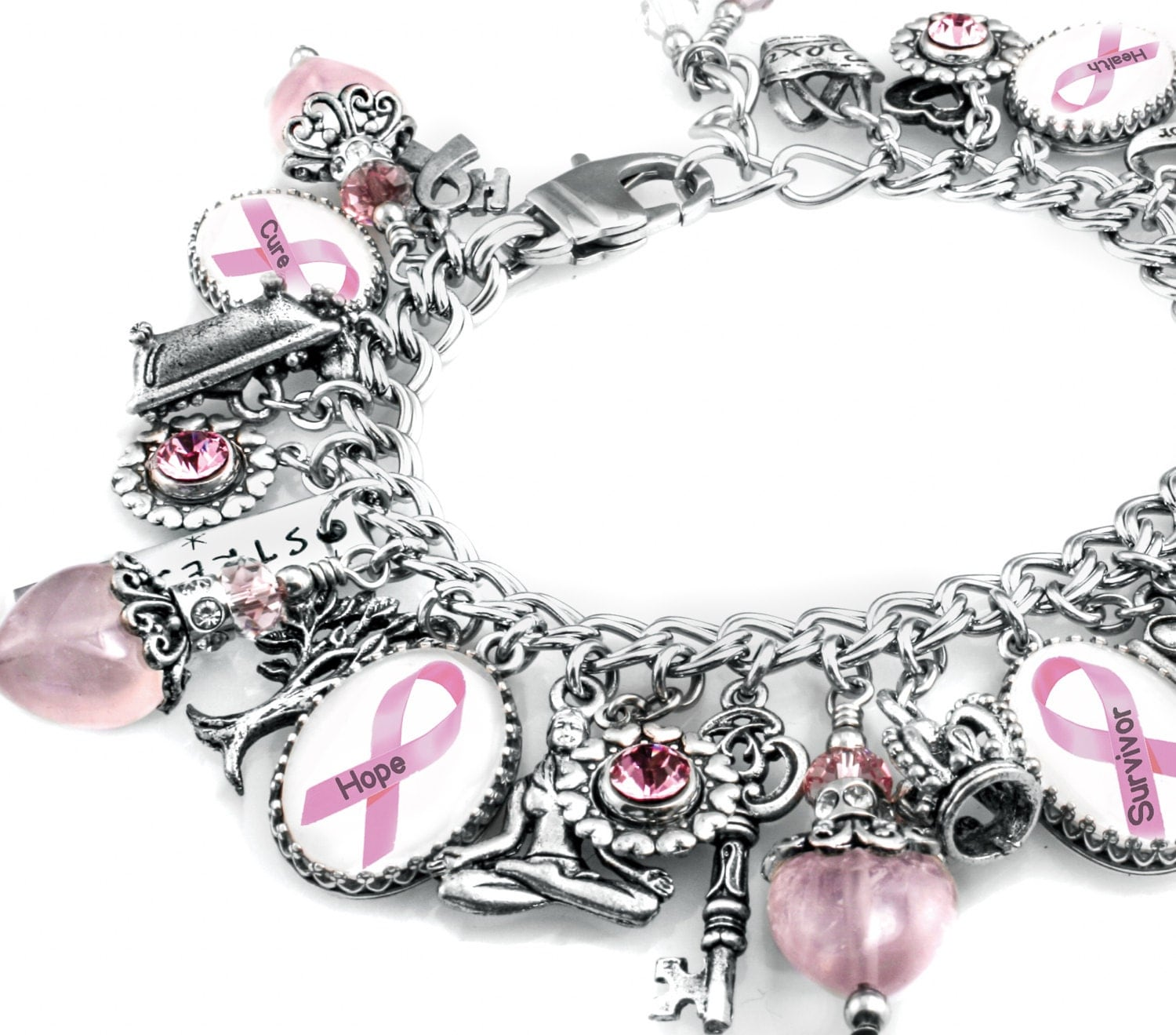 Breast Cancer Charm Bracelet Breast Cancer Jewelry Breast