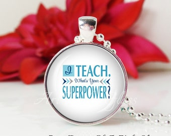 Round Medium Glass Bubble Pendant Necklace-I Teach What's Your Superpower?