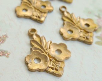 Four Raw Brass Pendant Findings American Made Metal  (25-6-4)