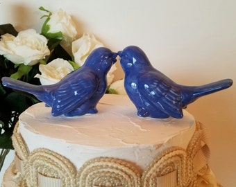 Love Birds Wedding Cake Topper Cornflower Blue Vintage Design Birds Ceramic Bird Home Decor