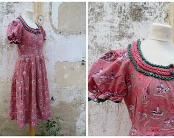 Vintage 1970/70s Austria trachten dirndl folk Prairie dress  pink printed Austria villages size S/M
