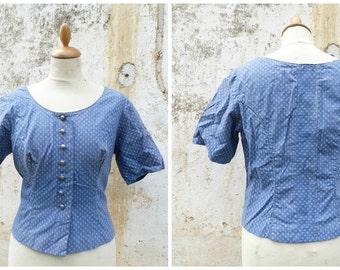Vintage 1970/70s Tyrol Austria Trachten Dirndl corset bodice top blouse, jacket blue calico cotton size L