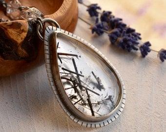 Tourmaline Quartz Necklace, Needle Quartz Pendant, Modern Metalwork Necklace, Handcrafted 925 Silver, Statement Necklace