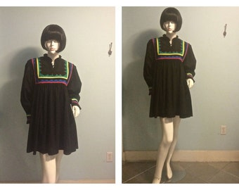 Vintage 70s Cotton baby doll mini dress  SMALL