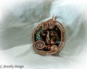Face in Copper Pendant