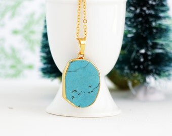 Natural Turquoise Gemstone Boho Pendant Necklace on a Gold Chain - Asymmetrical Turquoise Bohemian Jewelry For Woman