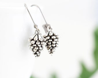 Woodland Earrings - Pine Cone Earrings - Silver Pinecone Earrings - Charm Earrings - Rustic Jewelry - Nature Themed Jewelry - Gift For Her
